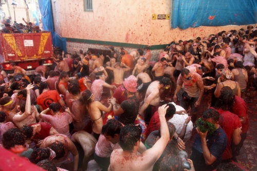 Big tomato fight in Buñol, Spain.