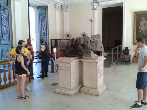 The Bendegó meteorite in the entry to Brazil's National Museum in Rio de Janeiro.
