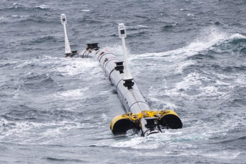 System 001 in rough seas during a tow test.