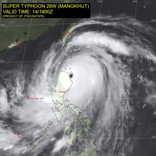 Satellite image showing Super Typhoon Mangkhut hitting land in the Phillipines