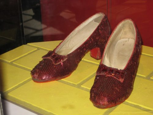 Ruby Slippers on display in the Smithsonian.
