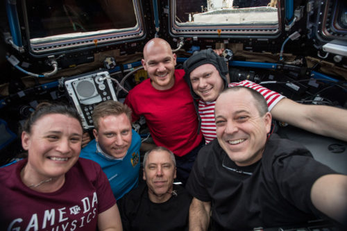 All six of the crew members working on the ISS now.