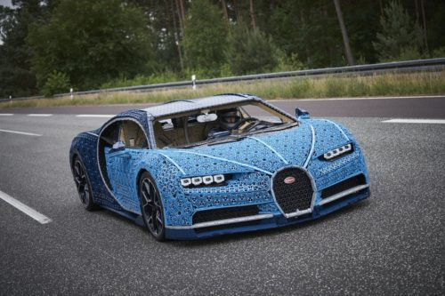 Lego Bugatti being drive on a test track.