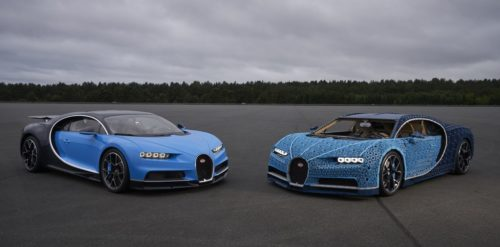 The Bugatti Chiron and the life-size Lego copy.