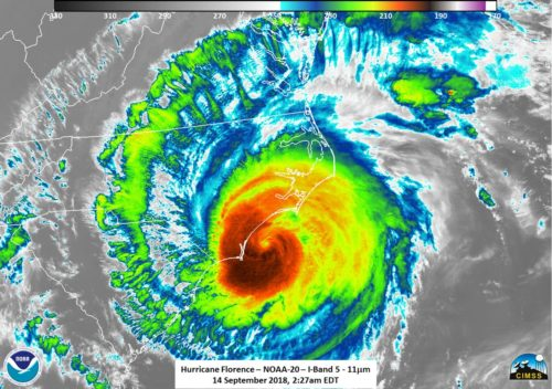 Image showing Hurricane Florence as it hits the US east coast.