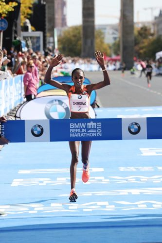 Gladys Cherono winning the 2018 Berlin Marathon.