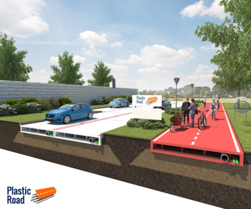 This picture shows an artist's drawing of a plastic road and bike path.