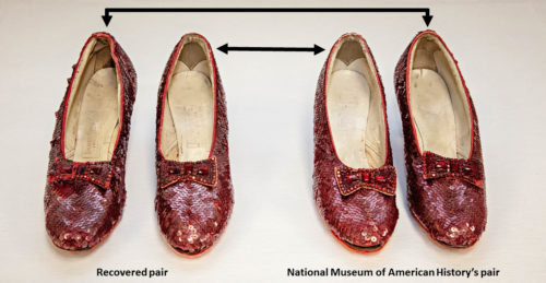 Two pairs of Ruby Slippers, covered in red sequins. Black arrows indicate which shoes create a pair