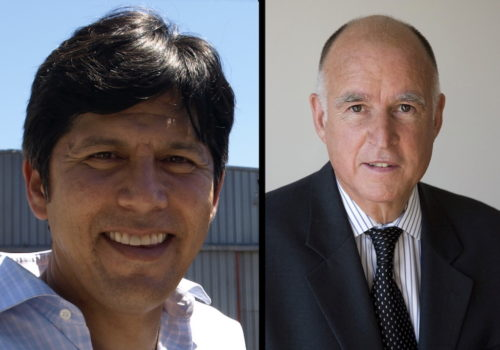 State Senator Kevin de Leon and Governor Jerry Brown