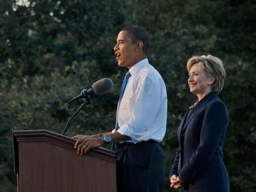 Obama-Clinton rally in Orlando. Barack Obama and Hillary Clinton in Orlando, Florida on October 20, 2008.