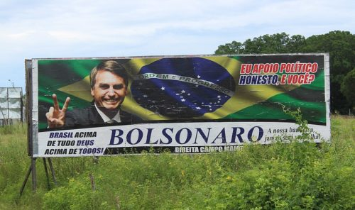 Billboard supporting Jair Bolsonaro for president by the side of the road in Campo Maior, Piauí, Brazil.