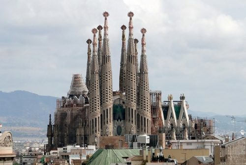 The Sagrada Familia viewed from Casa Milà, Barcelona, Spain