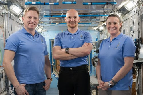 Expedition 56/57 crew members Sergei Prokopev, Alexander Gerst, and Serena Aunon-Chancellor