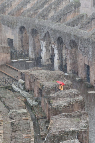 Colosseum in pouring rain.