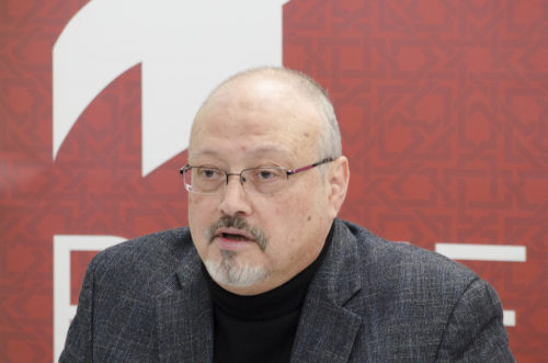 "Saudi journalist, Global Opinions columnist for the Washington Post, and former editor-in-chief of Al-Arab News Channel Jamal Khashoggi offers remarks during POMED's ""Mohammed bin Salman's Saudi Arabia: A Deeper Look."""
