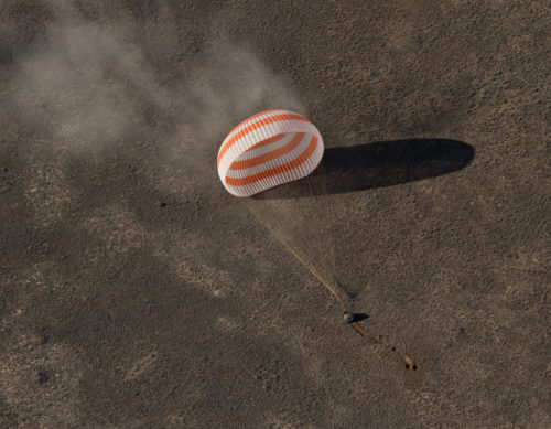 The Soyuz MS-02 spacecraft is seen as it lands near the town of Zhezkazgan, Kazakhstan on Monday, April 10, 2017