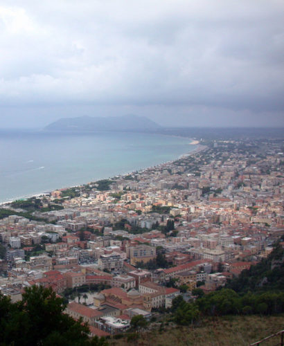 View of Terracina, Italy with overcast skies.