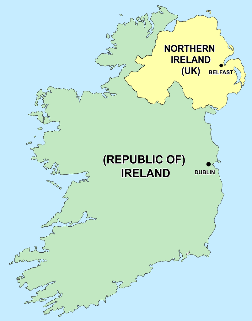 Political capitals of the countries Ireland and Northern Ireland