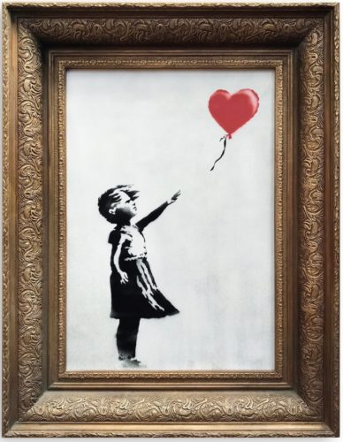 "Banksy's picture ""Girl With Balloon"" in a special frame."