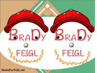 Image depicting two baseball players drawn with the name Brady Feigl.