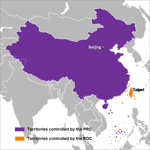 This map shows the areas controlled by China (PRC) and Taiwan (ROC).