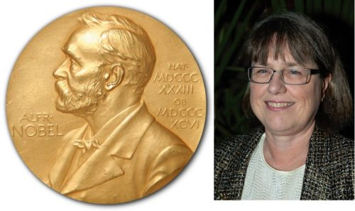Image of Nobel Prize and picture of Donna Strickland