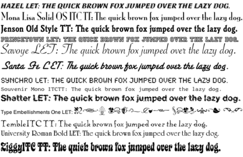 Fonts in Mac OS X (free package that was delivered with a collection of AppleScripts for iTunes.