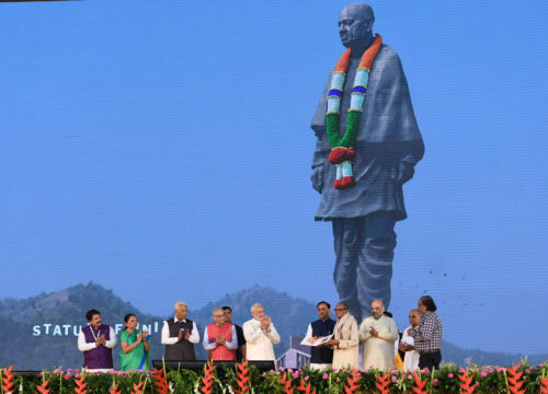 The Prime Minister, Shri Narendra Modi at the dedication of the 'Statue of Unity' to the Nation, on the occasion of the Rashtriya Ekta Diwas, at Kevadiya, in Narmada District of Gujarat on October 31, 2018.