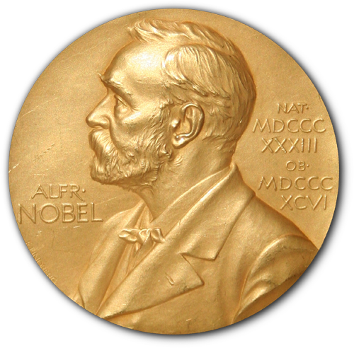 Front side (obverse) of one of the Nobel Prize medals in Physiology or Medicine awarded in 1950 to researchers at the Mayo Clinic in Rochester, Minnesota.