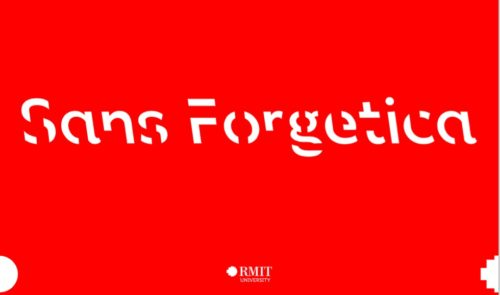 Red rectangle with 'Sans Forgetica' printed in Sans Forgetica font.