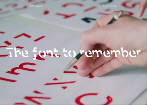 Image showing design process for the font Sans Forgetica. The slogan 'The font to remember' is superimposed.