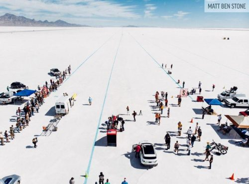 Picture of the starting line at Bonneville Salte Flats