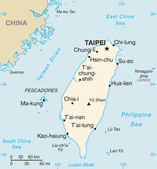 CIA World Fact Book map of Taiwan