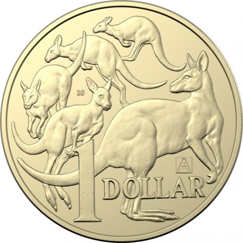 "A special version of Australia's $1 ""five kangaroo"" coin, with the letter ""A"" and the number 35."