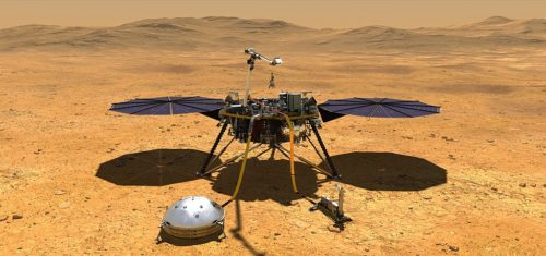 PIA22743: InSight Deploys Its Instruments This artist's concept depicts NASA's InSight lander after it has deployed its instruments on the Martian surface.