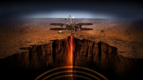 PIA22745: InSight - Artist's Illustration This artist's illustration depicts NASA's InSight lander on Mars. Cutaway view of Mars.