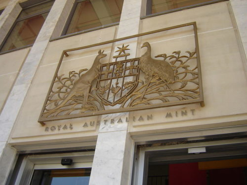 Coat of arms above the entrance to the Royal Australian Mint, Canberra, photographed by DO'Neil.