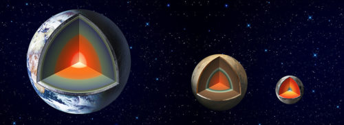 This artist's concept shows the variation and similarities between three of the five terrestrial planets in the solar system: the Earth, Mars and Earth's moon.