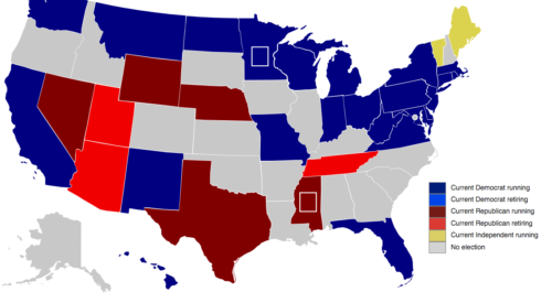 This map shows the 33 Senate seats that are being decided in the 2018 midterms.