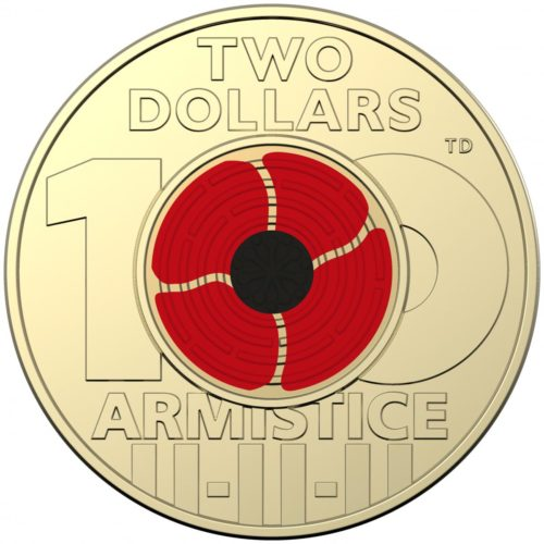 "Special two dollar ""poppy"" coin to celebrate the 100th anniversary of the end of World War I."