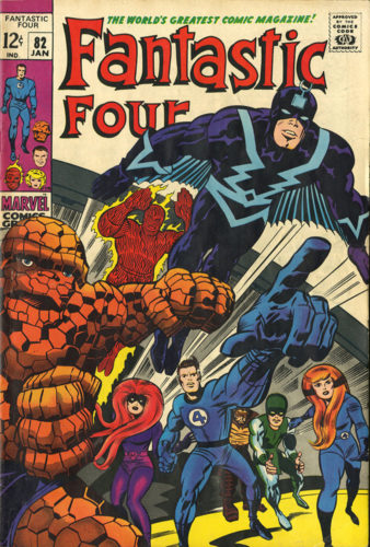 The Fantastic Four and the House of Agon (including Black Bolt and Medusa) team up and charge forward to do battle.
