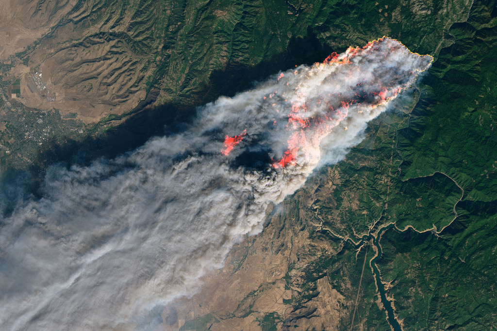 The Camp Fire as seen from space.