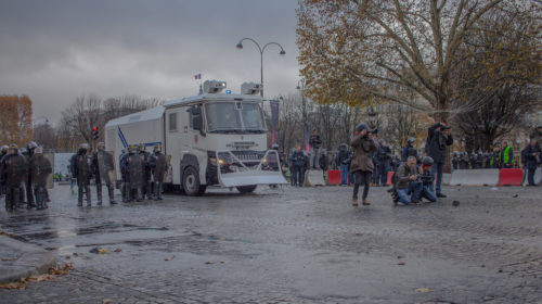 French police with crowd control vehicle