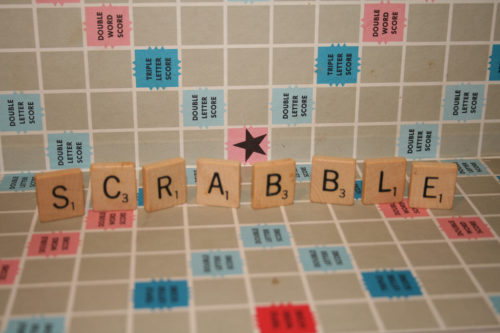 Scrabble board, with the letters SCRABBLE spelled out.