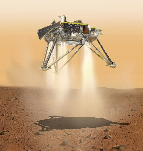 PIA22812: InSight Moments Away From Landing, Underside View (Illustration) This is an illustration showing a simulated view of NASA's InSight lander about to land on the surface of Mars. This view shows the underside of the spacecraft.