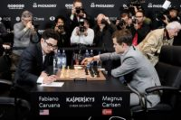 Fabiano Caruana (left) faces Magnus Carlsen in the World Chess Championships, 2018.