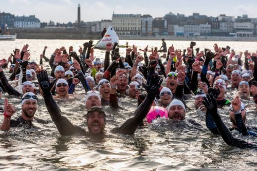 Around 300 people came to meet Mr. Edgley in Margate as he finished his swim.