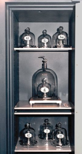 The international prototype and its six official copies in the safe