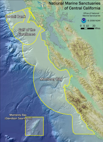 Area map showing the three National Marine Sanctuaries of the central California Coast.