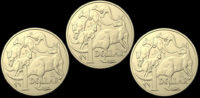 Three special dollar coins to be used in the coin hunt.